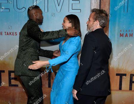 "Mahershala Ali, Carmen Ejogo. Mahershala Ali, from left, greets Carmen Ejogo as Stephen Dorff looks onat the Los Angeles premiere of ""True Detective"" season 3 at the Directors Guild of America on"