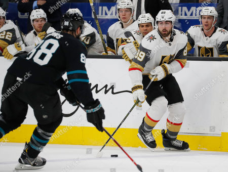 9a3ab78d9dc Vegas Golden Knights right wing Alex Tuch (89) passes the puck as San Jose