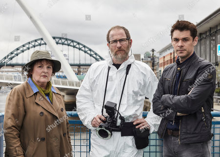 Brenda Blethyn as DCI Vera Stanhope, Paul Kaye as Malcolm Donahuem and Kenny Doughty as DS Aiden Healy.