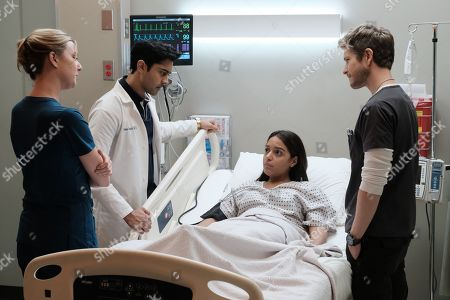 """THE RESIDENT:  L-R:  Emily VanCamp, Manish Dayal, guest star Coral Pena Sanchez and Matt Czuchry in the """"Comrades in Arms"""" episode of THE RESIDENT airing Monday, Jan. 29 (9:00-10:00 PM ET/PT) on FOX.  ©2017 Fox Broadcasting Co.  Cr:  Guy D'Alema/FOX"""
