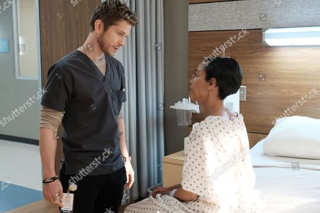 Matt Czuchry as Conrad Hawkins and Jazmyn Simon as Christine Conforth