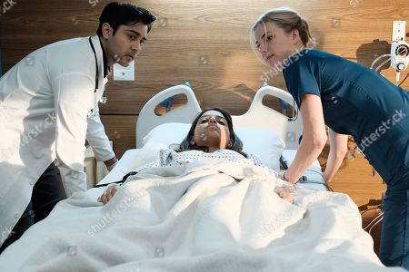 Manish Dayal as Devon Pravesh, Coral Pena as Louisa Rodriguez and Emily VanCamp as Nicolette Nevin