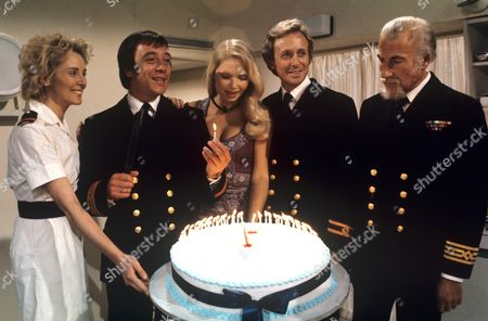'Doctor at Sea'   TV '100th Celebration' Elizabeth Counsell, Robin Nedwell, Eva Reuber-Staier, Geoffrey Davies and Ernest Clark.