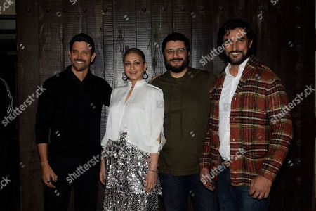 Bollywood actors Hrithik Roshan, Kunal Kapoor, with Sonali Bendre and her husband Goldie Behl