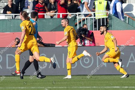 Jamie Maclaren (C) of Australia celebrates with teammates scoring during the 2019 AFC Asian Cup group B soccer match between Palestine and Australia in Dubai, United Arab Emirates, 11 January 2019.