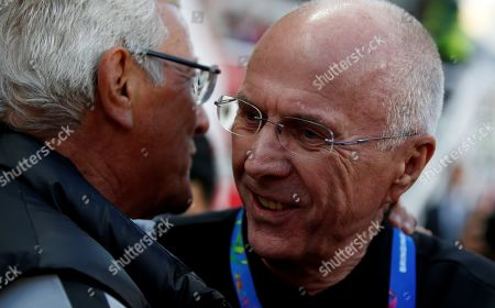 Sven-Goran Eriksson (R) head coach of Philippines shakes hands with Marcello Lippi head coach of China during the 2019 AFC Asian Cup group C preliminary round match between Philippines and China in Abu Dhabi, United Arab Emirates, 11 January 2019.