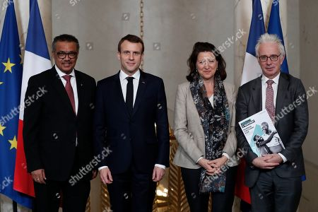 (L-R) Tedros Adhanom Ghebreyesus, Director-General of World Health Organization (WHO), French President Emmanuel Macron, Agnes Buzyn, French Minister for Solidarity and Health, and Peter Alexander Sands, British banker, and the executive director of the Global Fund to fight AIDS, Tuberculosis and Malaria, after a meeting at the Elysee Palace in Paris, France, 11 January 2019.