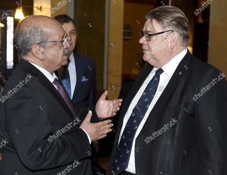 Foreign Minister Timo Soini (R) of Finland, Abdelkader Messahel