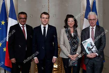 French President Emmanuel Macron, Tedros Adhanom Ghebreyesus, Director-General of World Health Organization, and Agnes Buzyn, French Minister for Solidarity and Health, pose at the Elysee Palace in Paris. French President Emmanuel Macron, center, Tedros Adhanom Ghebreyesus, Director-General of World Health Organization (WHO), and Agnes Buzyn, French Minister for Solidarity and Health, and and Peter Alexander Sands, British banker, and the executive director of the Global Fund to fight AIDS, Tuberculosis and Malaria, right, pose after a meeting at the Elysee Palace in Paris