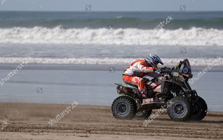 Argentinian Gustavo Gallego rides his Yamaha quad during the fifth stage of the Rally Dakar 2019 between Tacna and Arequipa, in Peru, 11 January 2019.