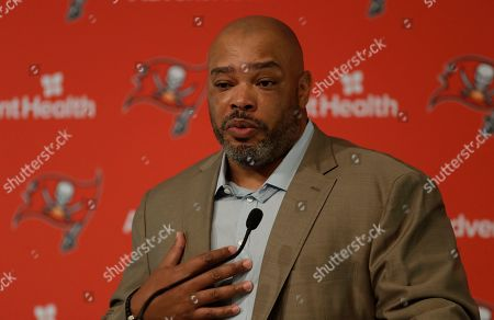 Stock Picture of New Tampa Bay Buccaneers assistant head coach and run game coordinator Harold Goodwin during a news conference, in Tampa, Fla