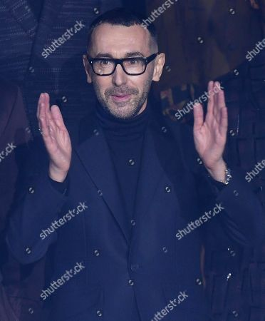 Italian designer Stefano Pilati waves to the audience at the end of the presentation of his Fall/Winter 2019/20 collection for Ermenegildo Zegna during the Milan Men's Fashion Week, in Milan, Italy, 11 January 2019. Fall/Winter 2019/20 collections are presented at the Milano Moda Uomo from 11 to 14 January.