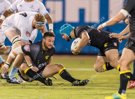 Houston SaberCats hooker Pat O'Toole (2) moves the ball during the exhibition game of the Houston SaberCats vs Austin Elite at Constellation Field, Sugar Land, Texas The SaberCats lead the Elite 5-0 at the half. ©Maria Lysaker - Cal Sports Media