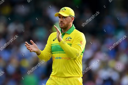 Aaron Finch of Australia gestures during the first One Day International match between Australia and India India at the Sydney Cricket Ground (SCG) in Sydney, Australia, 12 January 2019.