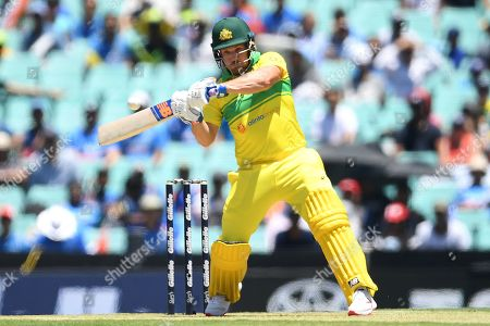 Aaron Finch of Australia plays a shot during the first One Day International match between Australia and India India at the Sydney Cricket Ground (SCG) in Sydney, Australia, 12 January 2019.