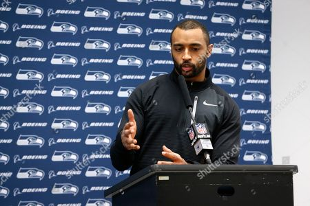 Seattle Seahawks wide receiver Doug Baldwin responds to questions during a news conference after an NFC wild-card NFL football game against the Dallas Cowboys in Arlington, Texas