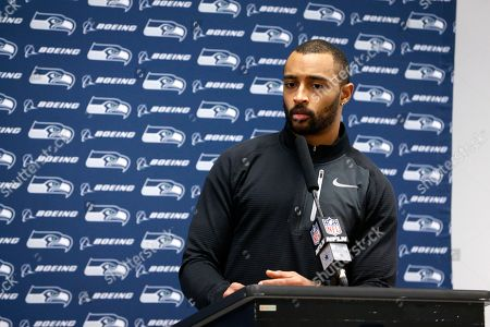 Stock Photo of Seattle Seahawks wide receiver Doug Baldwin responds to questions during a news conference after an NFC wild-card NFL football game against the Dallas Cowboys in Arlington, Texas
