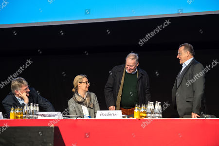 (L-R) Alternative for Germany (AfD) party co-chairman and top candidate for the European Parliament elections Joerg Meuthen, Alternative fuer Deutschland (AfD) party faction co-chairwoman in the German parliament Bundestag Alice Weidel, Co-leader of the Alternative for Germany party (AfD) Alexander Gauland and Alternative for Germany (AfD) Party deputy chairman Georg Pazderski during the European election convention of the AfD in Riesa, Germany, 12 January 2019. The AfD party members gather from 11 to 14 January 2019 in Riesa, for the election of their candidates for the European elections. European elections will take place from 23 to 26 May 2019.