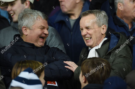 Adrian Chiles and Frank Skinner have a laugh prior to kick off.