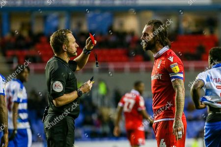Nottingham Forest defender Danny Fox (4) gets a red card during the EFL Sky Bet Championship match between Reading and Nottingham Forest at the Madejski Stadium, Reading