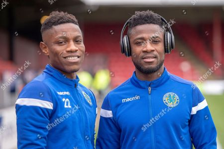 Macclesfield Town forward Koby Arthur (22) & Macclesfield Town forward Scott Wilson (9) on the pitch prior to kick off during the EFL Sky Bet League 2 match between Grimsby Town FC and Macclesfield Town at Blundell Park, Grimsby