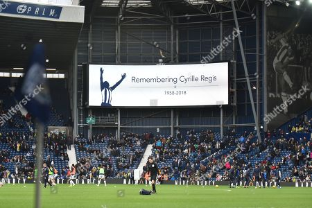 West Bromwich Albion remember Cyrille Regis on the anniversery of his death during the EFL Sky Bet Championship match between West Bromwich Albion and Norwich City at The Hawthorns, West Bromwich