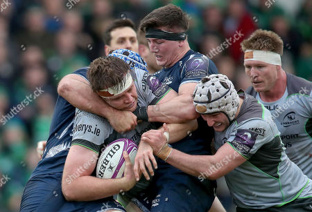 Connacht vs Sale Sharks. Sale Sharks' Bryn Evans and Tom Curry with James Cannon of Connacht