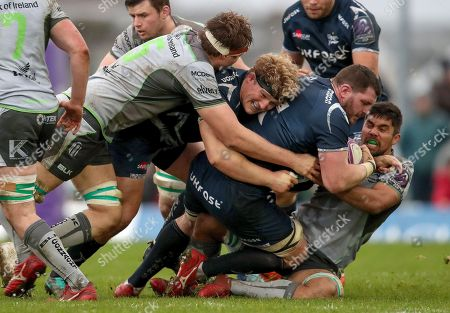 Connacht vs Sale Sharks. Sale Sharks' Ross Harrison and James Phillips and Jarrad Butler of Connacht
