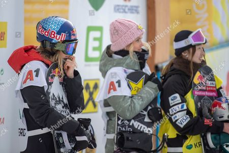 (L-R) Anna Gasser of Austria, Silje Norendal of Norway and Takeru Otsuka of Japan react during the women's Snowboard Slopestyle Snowboard World Cup in Kreischberg in Kreischberg, Austria, 12 January 20189.