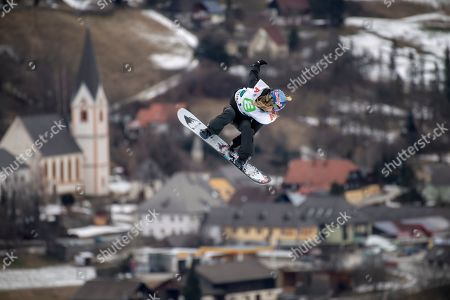 Stock Photo of Anna Gasser of Austria in action during the Snowboard Slopestyle World Cup in Kreischberg, Austria, 12 January 20189.