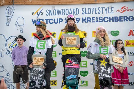 (L-R) Second placed Anna Gasser of Austria, first placed Takeru Otsuka of Japan and third placed Silje Norendal of Norway celebrate on the podium during the women's Snowboard Slopestyle Snowboard World Cup in Kreischberg in Kreischberg, Austria, 12 January 20189.