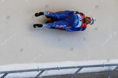 Chris Mazdzer and Jayson Terdiman of USA in action during the first run of the doubles competition for the Luge World Cup in Sigulda, Latvia, 12 January 2019.