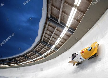 Brad Hall and Nick Gleeson of Great Britain in action during the first run of the men's competition for the Bobsleigh World Cup in Schoenau am Koenigssee, Germany, 12 January 2019.