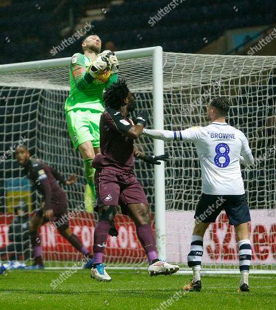 Goalkeeper Declan Rudd of Preston North End saves from Wilfried Bony of Swansea in 2nd half