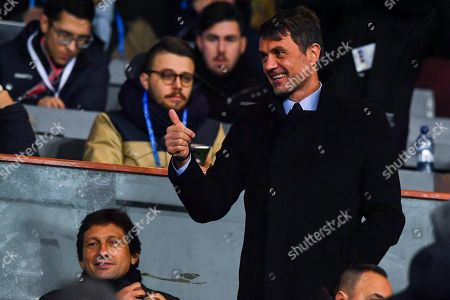 Milan's manager Leonardo (L, bottom) and Milan's sports area development director Paolo Maldini (R) react before the Italy Cup soccer match between UC Sampdoria and AC Milan at Luigi Ferraris Stadium in Genoa, Italy, 12 January 2019.