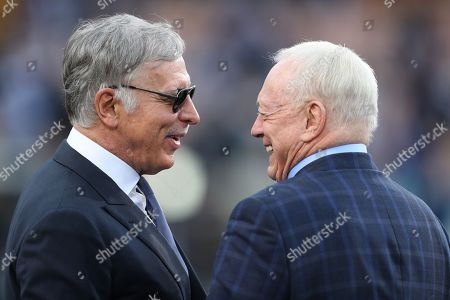 Stan Kroenke (L), owner of the Los Angeles Rams and Jerry Jones (R), owner of the Dallas Cowboys talk together prior to the start of the NFC Divisional Round playoff NFL American Football game between the Los Angeles Rams and the Dallas Cowboys at the LA Memorial Coliseum in Los angeles, California, USA, 12 January 2019.