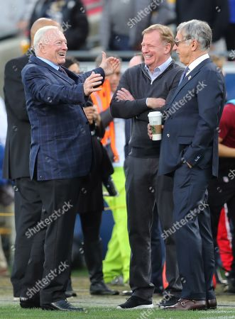 Stan Kroenke (R), owner of the Los Angeles Rams, Jerry Jones (L), owner of the Dallas Cowboys and NFL Commissioner Roger Goodell (C) talk together prior to the start of the NFC Divisional Round playoff NFL American Football game between the Los Angeles Rams and the Dallas Cowboys at the LA Memorial Coliseum in Los angeles, California, USA, 12 January 2019.