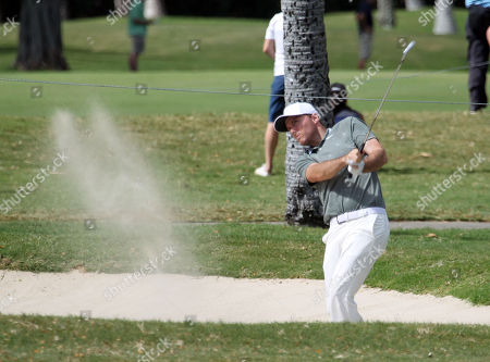 Former winner Russell Henley hits from the 8th hole fairway bunker during the second round of the PGA Sony Open at the Waialae Country Club in Honolulu , HI - Michael Sullivan/CSM