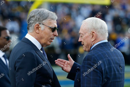 Los Angeles Rams owner Stan Kroenke and Dallas Cowboys owner Jerry Jones before the NFC Divisional Round playoff game between the game between the Los Angeles Rams and the Dallas Cowboys at the Los Angeles Coliseum in Los Angeles, California