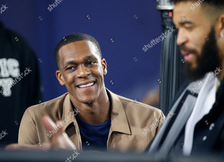 Los Angeles Lakers Guard Rajon Rondo in attendance during the NFC Divisional Round playoff game between the game between the Los Angeles Rams and the Dallas Cowboys at the Los Angeles Coliseum in Los Angeles, California