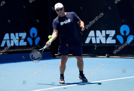 Coach of Novak Djokovic of Serbia, Marian Vajda, in action during practice