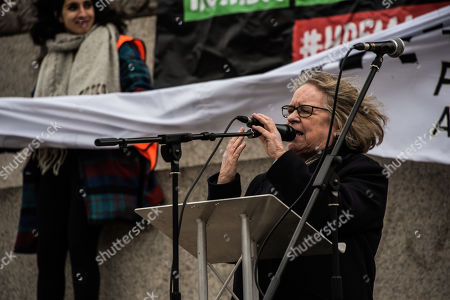 Stock Image of Political Activist Lindsey German seen addressing the crowd during the protest.