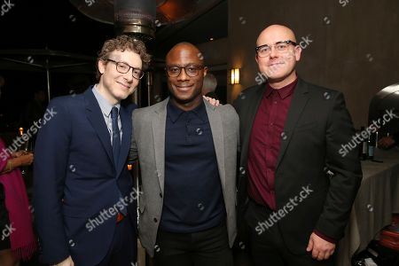 """Nicholas Britell, Barry Jenkins, James Laxton. Nicholas Britell, writer/director Barry Jenkins and James Laxton seen at the special screening of """"If Beale Street Could Talk"""", in Los Angeles"""