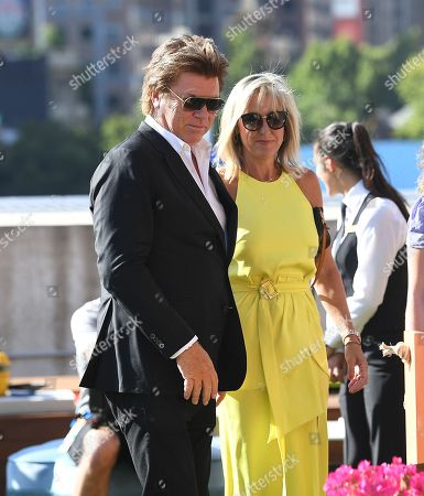 Australian presenter Richard Wilkins (L) and his girlfriend Virginia Burmeister (R) attend the Crown IMG Tennis party at the Crown in Melbourne, Australia, 13 January 2019. The Australian Open tennis tournament will take place from 14 January to 27 January 2019.
