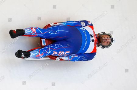 Chris Mazdzer of the USA in action during the first run of the men's competition at the Luge World Cup in Sigulda, Latvia, 13 January 2019.