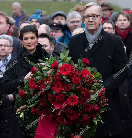 Co-leaders of The Left (Die Linke) party faction Sahra Wagenknecht (L) and Dietmar Bartsch (R) carry bouquets to the grave of German revolutionary socialist Rosa Luxemburg at the Memorial to the Socialists in Berlin, Germany, 13 January 2019. Luxemburg was executed on 15 January 1919 for her political beliefs, after being arrested for taking part in workers general strike called 'Spartacist uprising' against government of Social Democratic Party of Germany.
