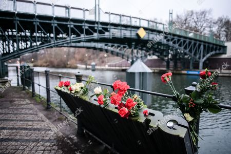 Flowers on a memorial of German revolutionary socialist Rosa Luxemburg at the Tiergarten park near the river Landwehrkanal in Berlin, Germany, 13 January 2019. Luxemburg was executed on 15 January 1919 for her political beliefs, after being arrested for taking part in workers general strike called 'Spartacist uprising' against government of Social Democratic Party of Germany.