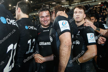 Lyon vs Saracens. Saracens' Jamie George and Marcelo Bosch after the game