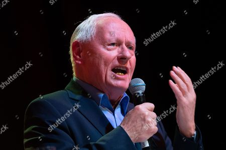 Stock Image of Fraction chairman of the 'The Left' (Die Linke) party in the federal state of Saarland Oskar Lafontaine speaks during the German 'The Left' party's parliamentary fraction season starting meeting in Berlin, Germany, 13 January 2019. The party holds the annual event including speeches, discussions and artistic contributions with the motto 'For a strong welfare state and consistent disarmament'