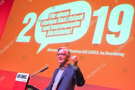 Co-leader of The Left (Die Linke) party faction Dietmar Bartsch speaks during the German 'The Left' party's parliamentary fraction season starting meeting in Berlin, Germany, 13 January 2019. The party holds the annual event including speeches, discussions and artistic contributions with the motto 'For a strong welfare state and consistent disarmament'